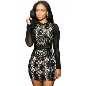 Lace Mini Dress With Mesh Sleeves