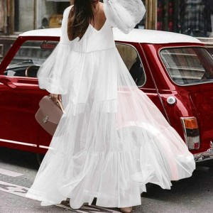Summer Lace Polyester Long Dress