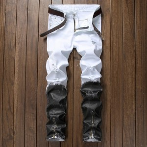 Straight Ripped Jeans With Zippers