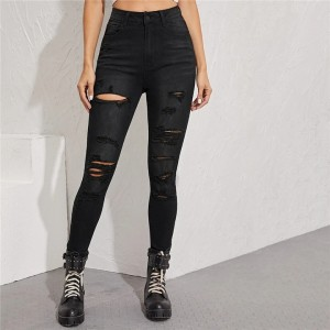 Casual Mid-Waist Ripped Skinny Jeans