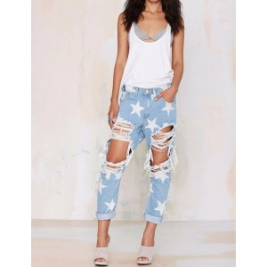Ripped Boyfriend Jeans With Stars Pattern